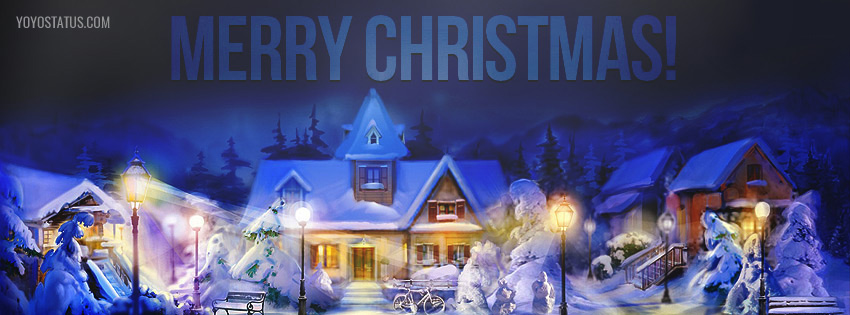 Beautiful Snowy Merry christmas Facebook cover picture - YoYo Pics