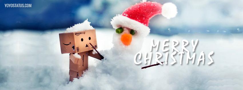 Cute Snowman Christmas Facebook Cover | Merry Christmas - YoYo Pics
