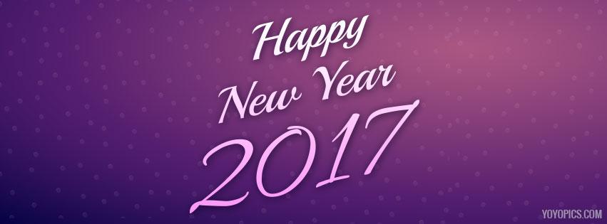 Purple Happy New Year Facebook Cover 2017 - YoYo Pics