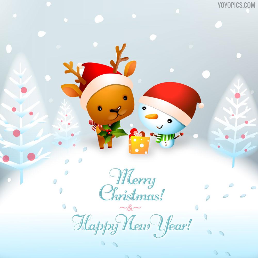 Snowy Merry Christmas Wishes Card Yoyo Pics